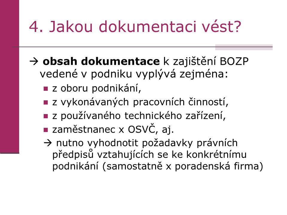 4. Jakou dokumentaci vést?  obsah dokumentace k zajištění BOZP vedené v podniku vyplývá zejména: z oboru podnikání, z vykonávaných pracovních činnost