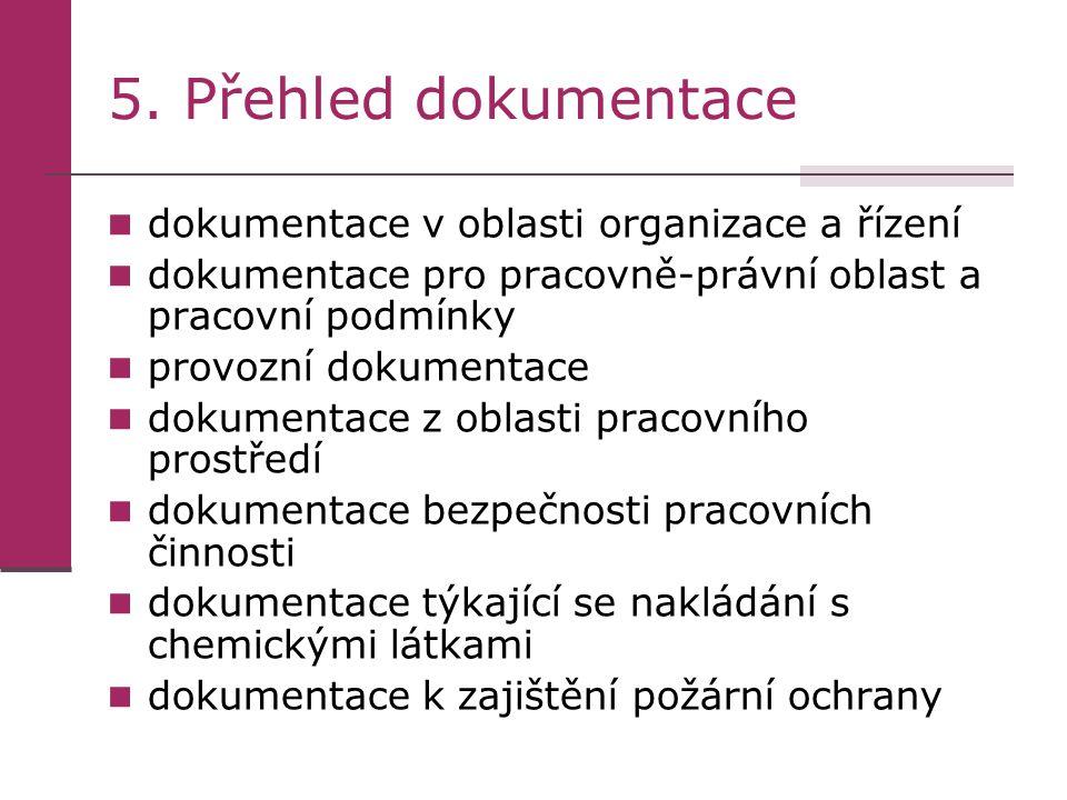5. Přehled dokumentace dokumentace v oblasti organizace a řízení dokumentace pro pracovně-právní oblast a pracovní podmínky provozní dokumentace dokum