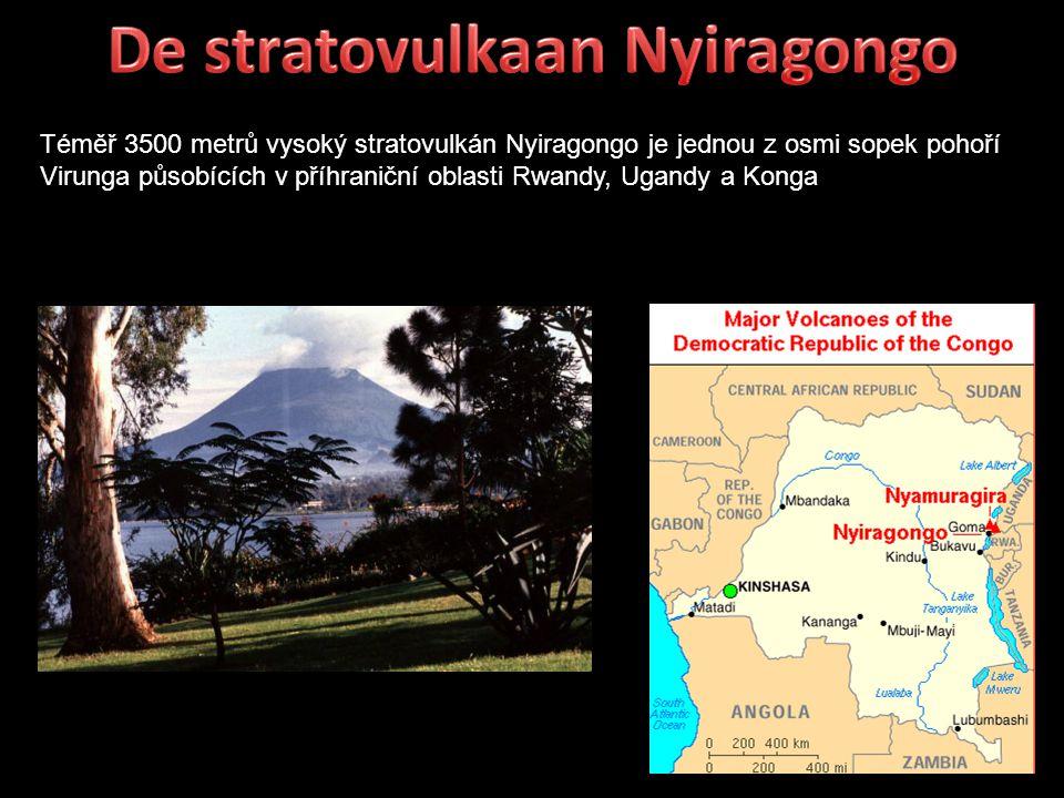 Téměř 3500 metrů vysoký stratovulkán Nyiragongo je jednou z osmi sopek pohoří Virunga působících v příhraniční oblasti Rwandy, Ugandy a Konga