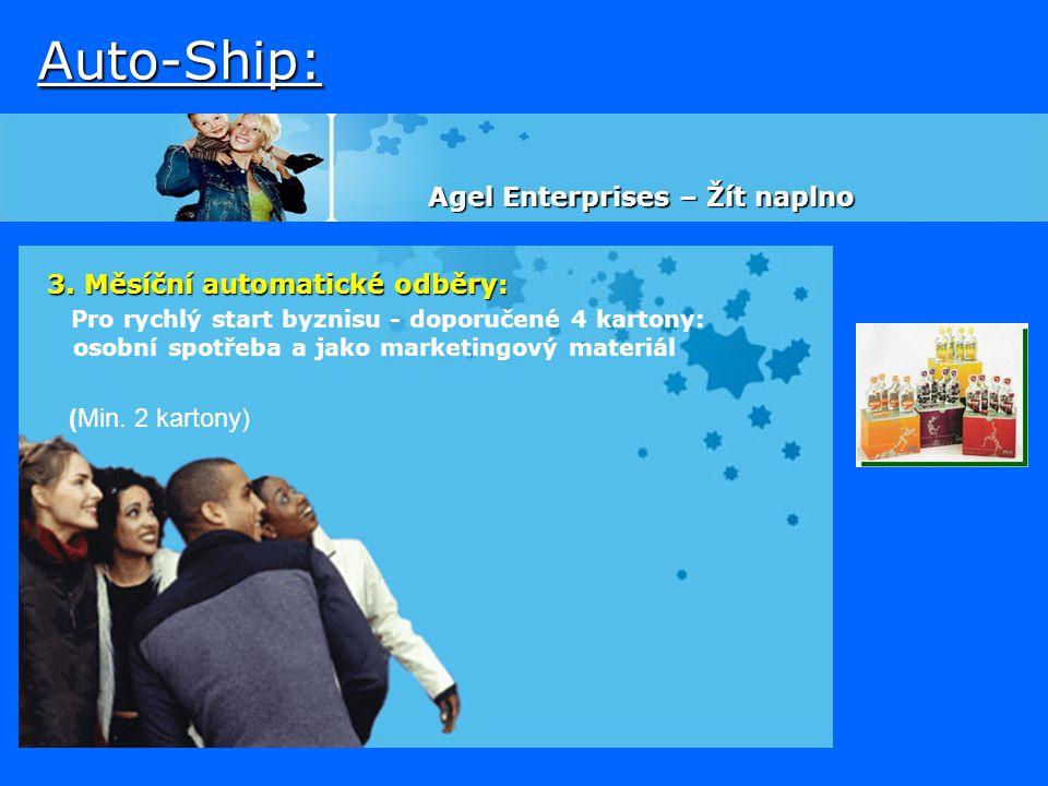 Auto-Ship: 3. Měsíční automatické odběry: Pro rychlý start byznisu - doporučené 4 kartony: osobní spotřeba a jako marketingový materiál (Min. 2 karton