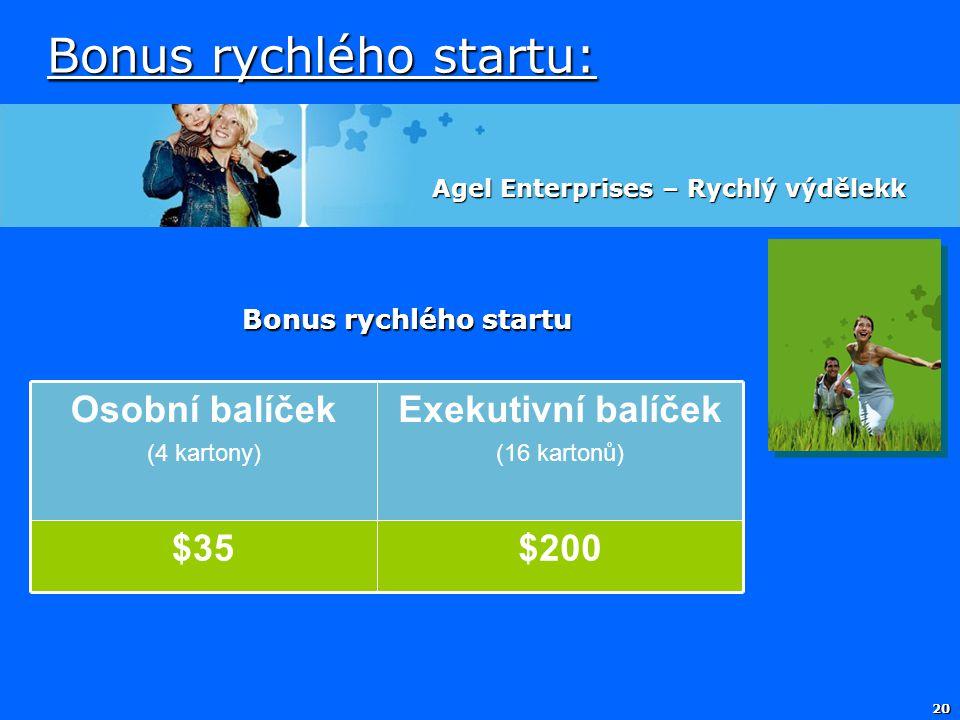 20 Bonus rychlého startu: Agel Enterprises – Rychlý výdělekk Bonus rychlého startu Osobní balíček (4 kartony) Exekutivní balíček (16 kartonů) $35$20