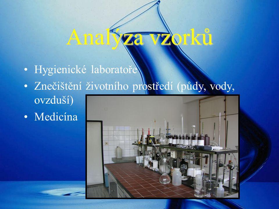 Analýza vzorků Hygienické laboratoře Znečištění životního prostředí (půdy, vody, ovzduší) Medicína