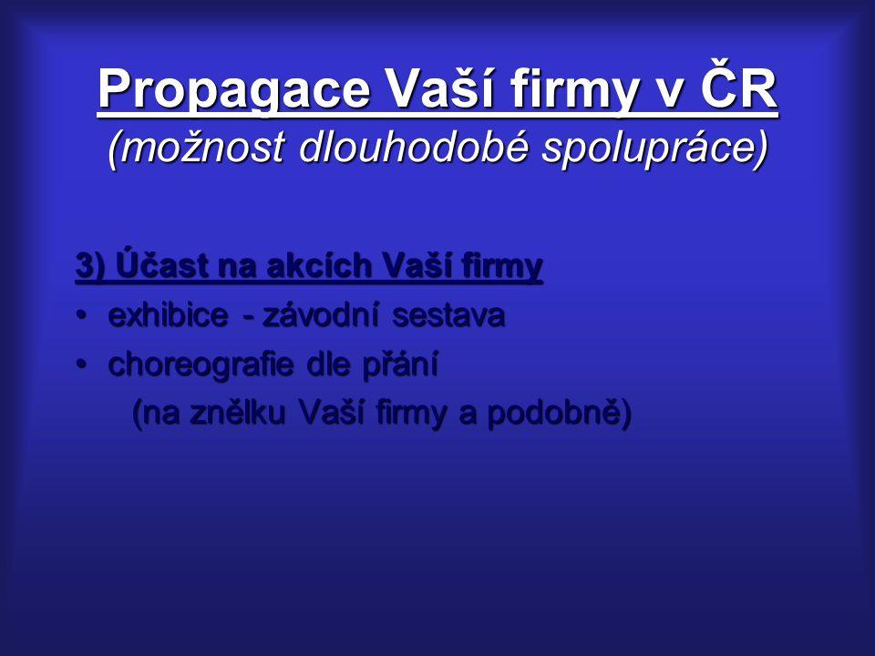 Propagace Vaší firmy v ČR (možnost dlouhodobé spolupráce) 3) Účast na akcích Vaší firmy exhibice - závodní sestavaexhibice - závodní sestava choreogra