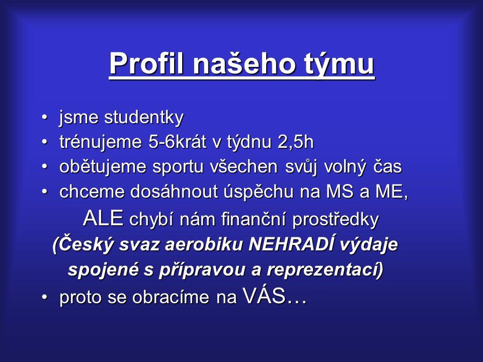 Profil našeho týmu jsme studentkyjsme studentky trénujeme 5-6krát v týdnu 2,5htrénujeme 5-6krát v týdnu 2,5h obětujeme sportu všechen svůj volný časobětujeme sportu všechen svůj volný čas chceme dosáhnout úspěchu na MS a ME,chceme dosáhnout úspěchu na MS a ME, ALE chybí nám finanční prostředky ALE chybí nám finanční prostředky (Český svaz aerobiku NEHRADÍ výdaje (Český svaz aerobiku NEHRADÍ výdaje spojené s přípravou a reprezentací) spojené s přípravou a reprezentací) proto se obracíme na VÁS…proto se obracíme na VÁS…