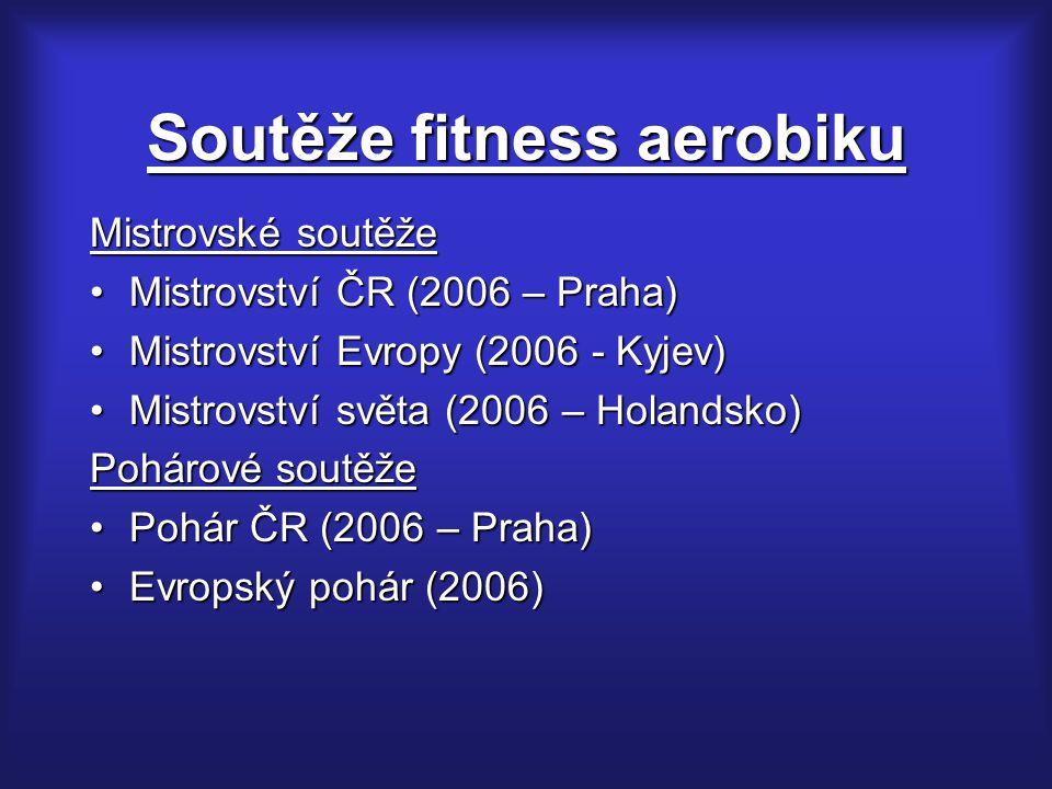 Soutěže fitness aerobiku Mistrovské soutěže Mistrovství ČR (2006 – Praha)Mistrovství ČR (2006 – Praha) Mistrovství Evropy (2006 - Kyjev)Mistrovství Ev