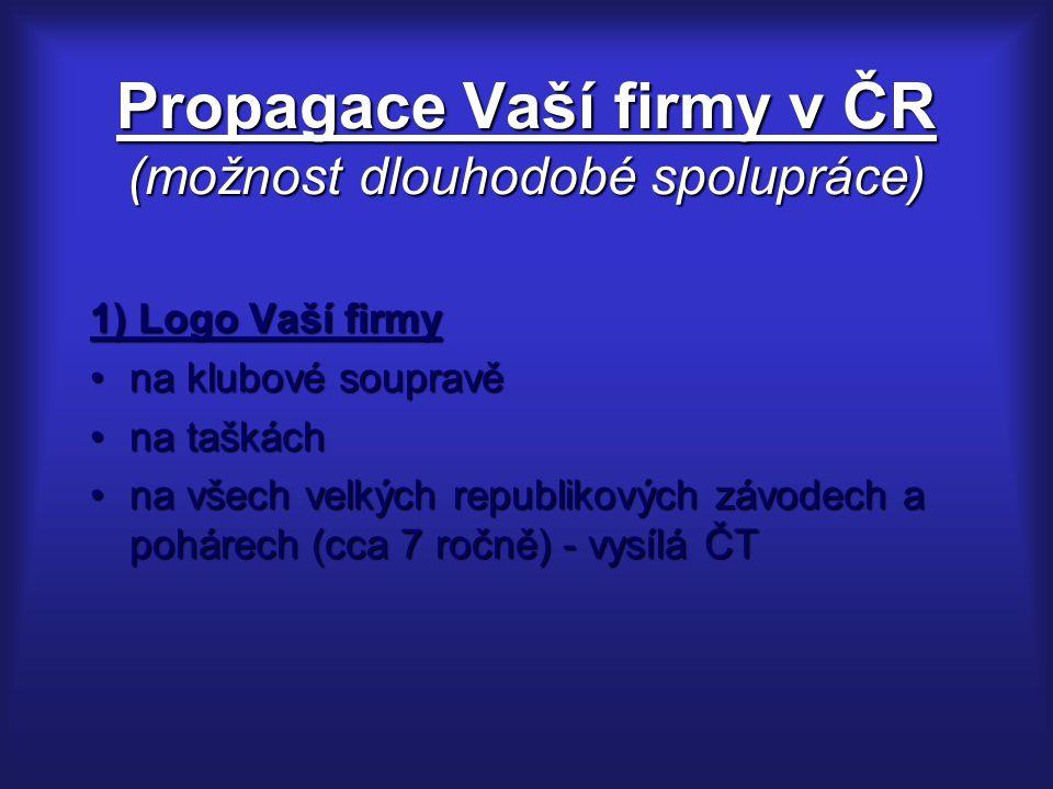 Propagace Vaší firmy v ČR (možnost dlouhodobé spolupráce) 1) Logo Vaší firmy na klubové soupravěna klubové soupravě na taškáchna taškách na všech velk