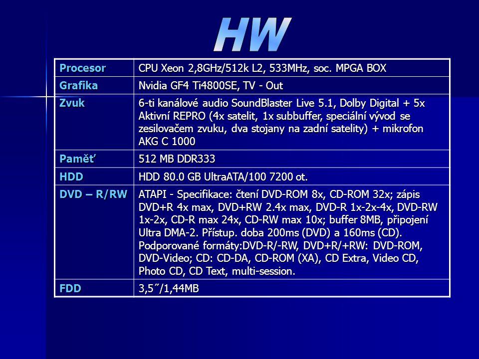 Procesor CPU Xeon 2,8GHz/512k L2, 533MHz, soc. MPGA BOX Grafika Nvidia GF4 Ti4800SE, TV - Out Zvuk 6-ti kanálové audio SoundBlaster Live 5.1, Dolby Di