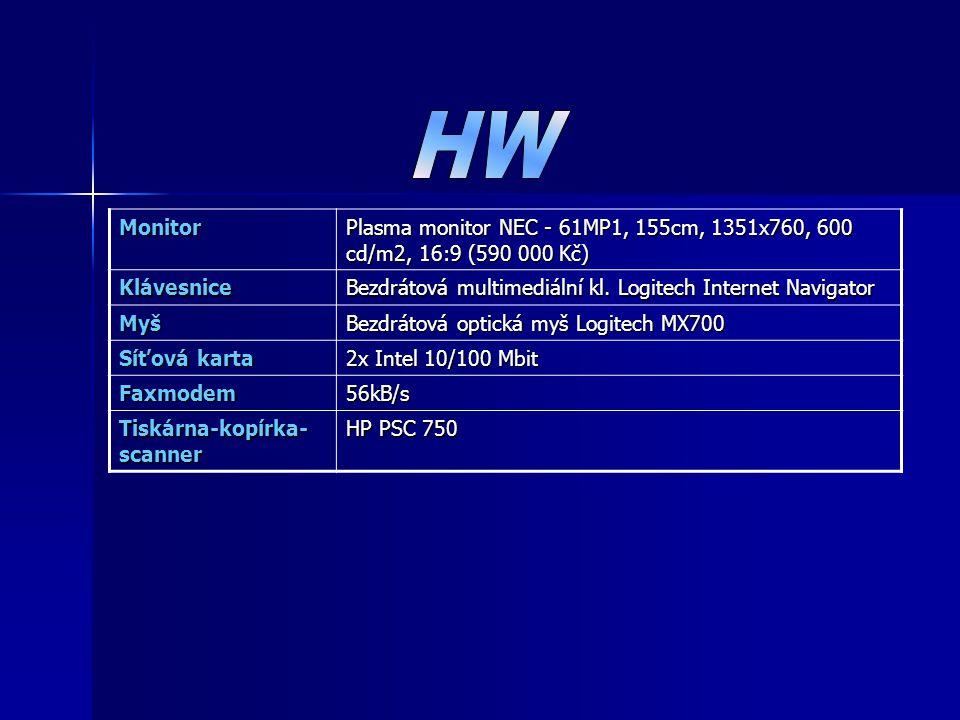 Monitor Plasma monitor NEC - 61MP1, 155cm, 1351x760, 600 cd/m2, 16:9 (590 000 Kč) Klávesnice Bezdrátová multimediální kl. Logitech Internet Navigator