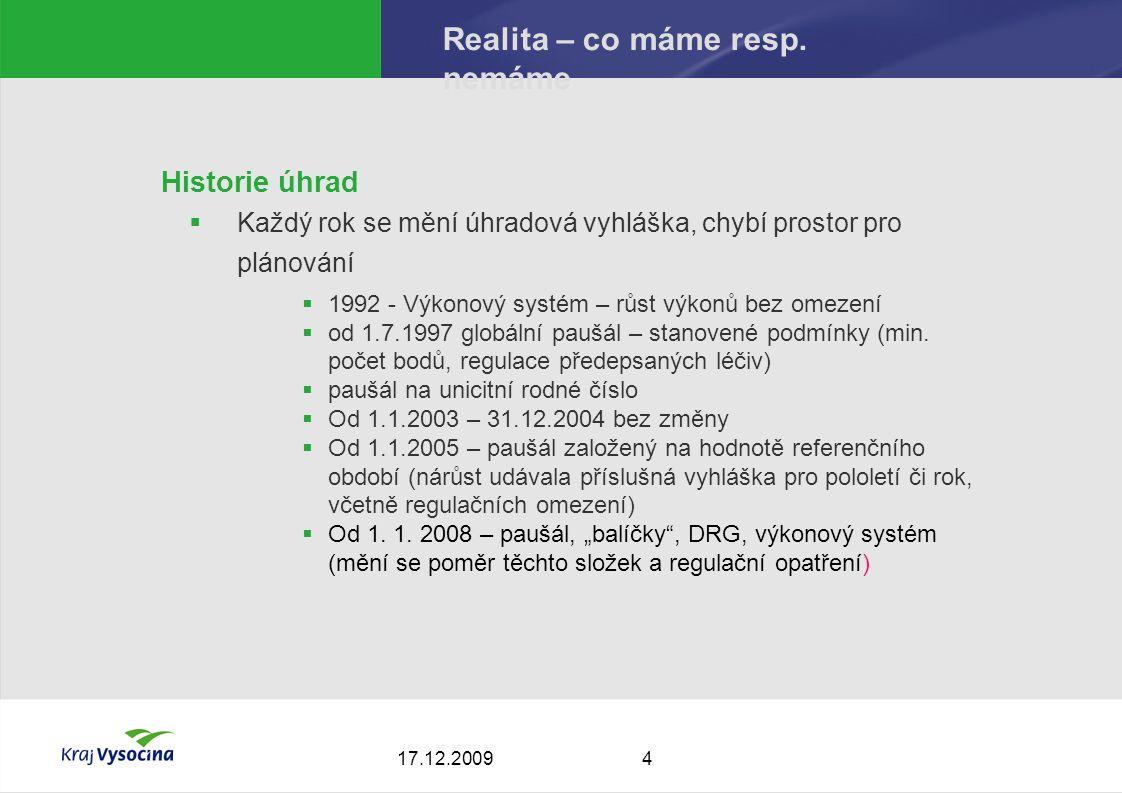 417.12.2009 Realita – co máme resp.