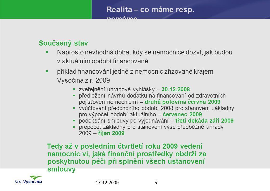 517.12.2009 Realita – co máme resp.