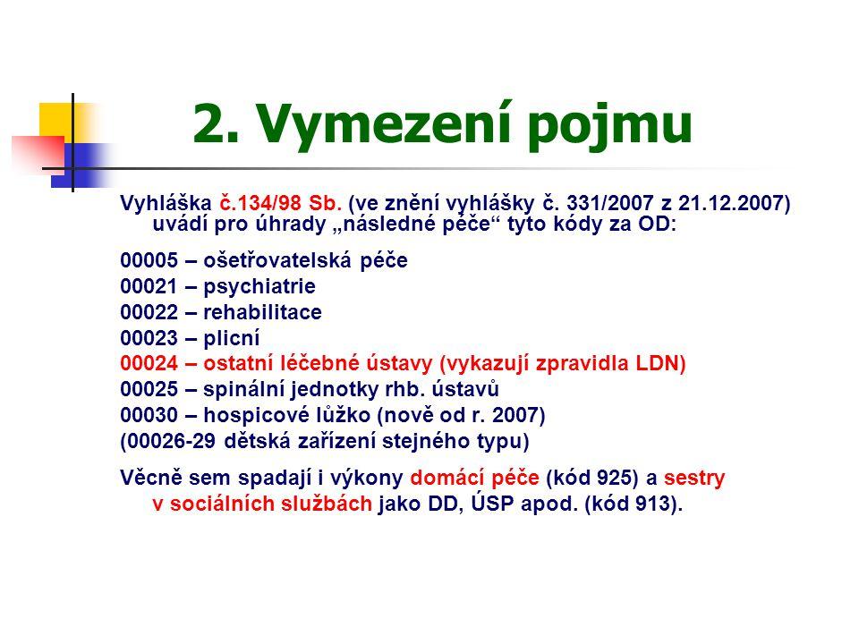 """2. Vymezení pojmu Vyhláška č.134/98 Sb. (ve znění vyhlášky č. 331/2007 z 21.12.2007) uvádí pro úhrady """"následné péče"""" tyto kódy za OD: 00005 – ošetřov"""