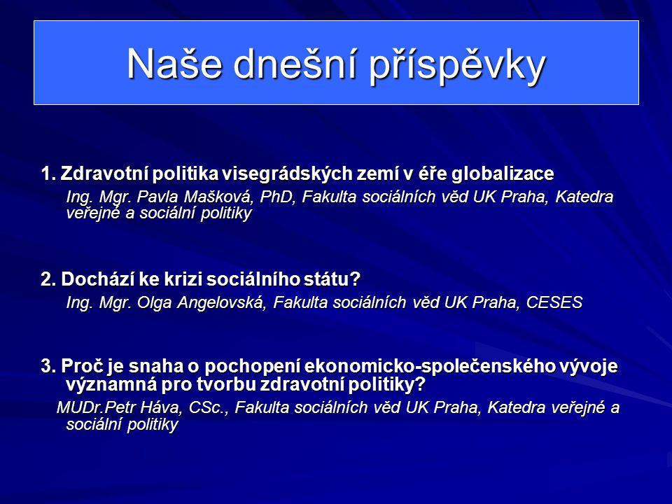 Naše dnešní příspěvky 1.Zdravotní politika visegrádských zemí v éře globalizace Ing.