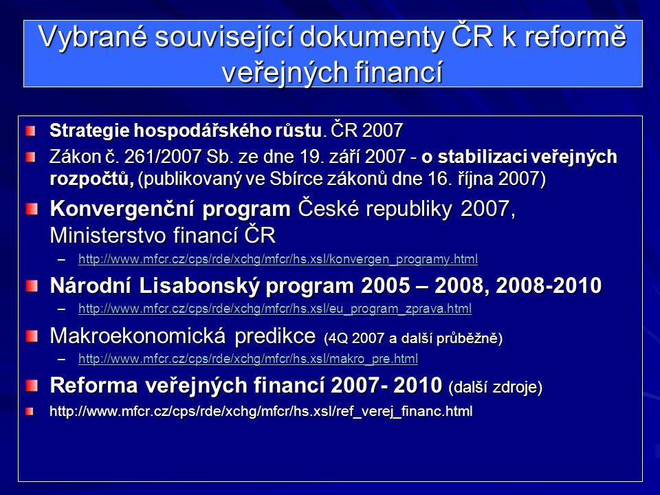 Vybrané související dokumenty ČR k reformě veřejných financí Strategie hospodářského růstu. ČR 2007 Zákon č. 261/2007 Sb. ze dne 19. září 2007 - o sta