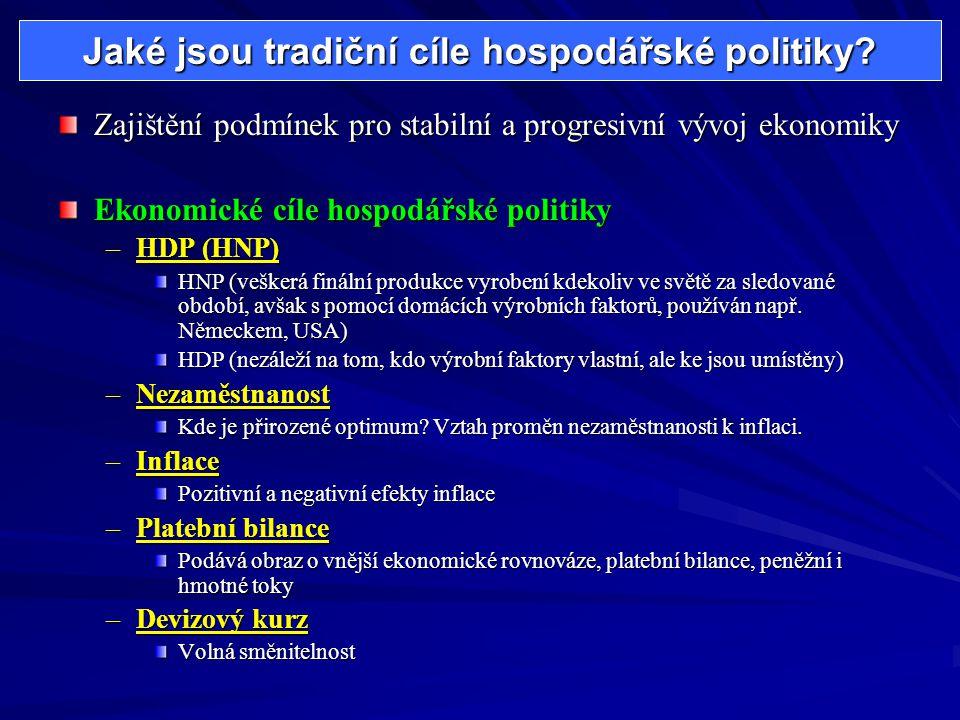 Jaké jsou tradiční cíle hospodářské politiky? Zajištění podmínek pro stabilní a progresivní vývoj ekonomiky Ekonomické cíle hospodářské politiky –HDP
