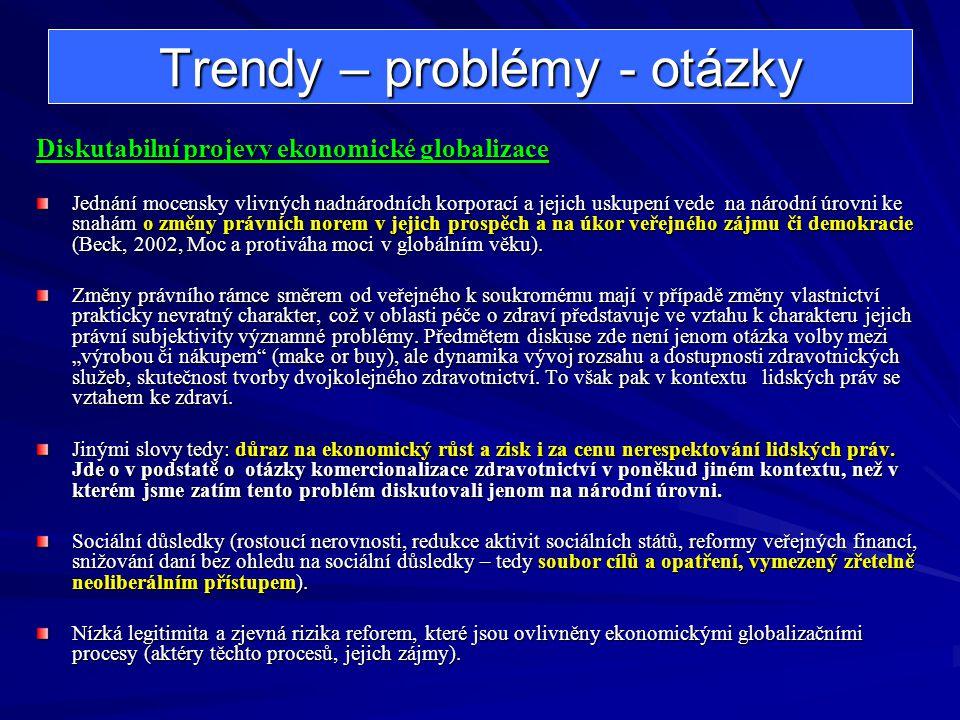 Trendy – problémy - otázky Diskutabilní projevy ekonomické globalizace Jednání mocensky vlivných nadnárodních korporací a jejich uskupení vede na náro