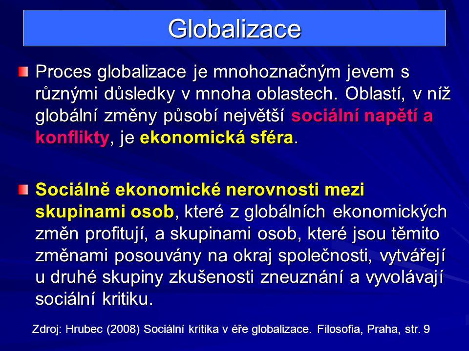 Globalizace Proces globalizace je mnohoznačným jevem s různými důsledky v mnoha oblastech. Oblastí, v níž globální změny působí největší sociální napě