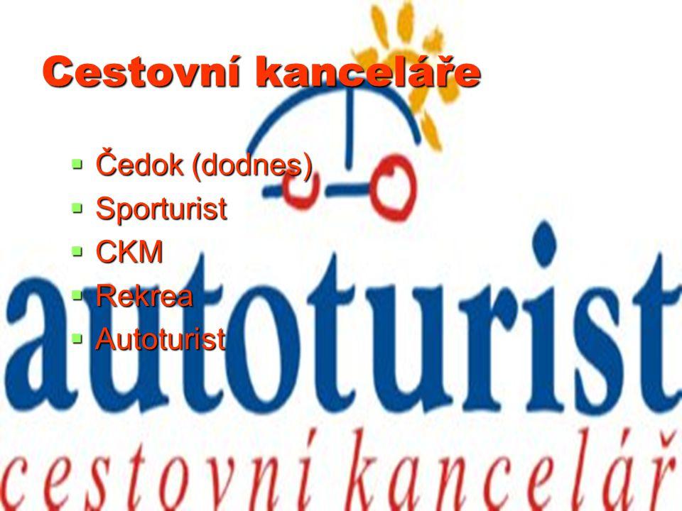 Cestovní kanceláře  Čedok (dodnes)  Sporturist  CKM  Rekrea  Autoturist