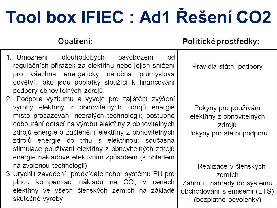 Tool box IFIEC : Ad1 Řešení CO2 Opatření: 1. Umožnění dlouhodobých osvobození od regulačních přirážek za elektřinu nebo jejich snížení pro všechna ene