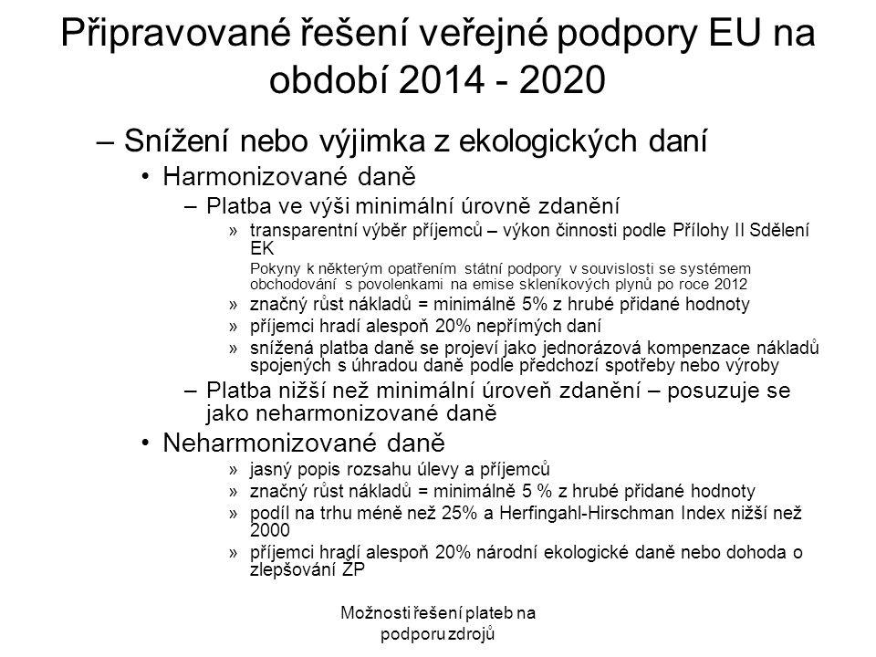 Připravované řešení veřejné podpory EU na období 2014 - 2020 –Snížení nebo výjimka z ekologických daní Harmonizované daně –Platba ve výši minimální úr