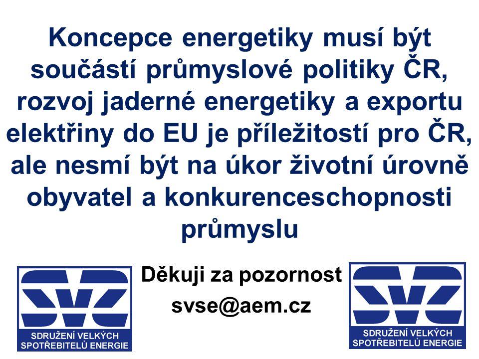 Koncepce energetiky musí být součástí průmyslové politiky ČR, rozvoj jaderné energetiky a exportu elektřiny do EU je příležitostí pro ČR, ale nesmí bý