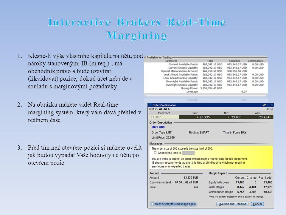 1.Klesne-li výše vlastního kapitálu na účtu pod nároky stanovenými IB (m.req.), má obchodník právo a bude uzavírat (likvidovat) pozice, dokud účet nebude v souladu s marginovými požadavky 2.Na obrázku můžete vidět Real-time margining systém, který vám dává přehled v reálném čase 3.Před tím než otevřete pozici si můžete ověřit jak budou vypadat Vaše hodnoty na účtu po otevření pozic