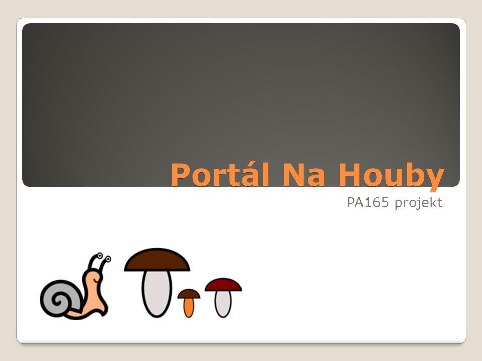 Představení projektu Houbařský portál ◦Portál pro výměnu informací mezi houbaři ◦Katalog hub ◦Seznam houbařů ◦Seznam lesů ◦Návštěvy