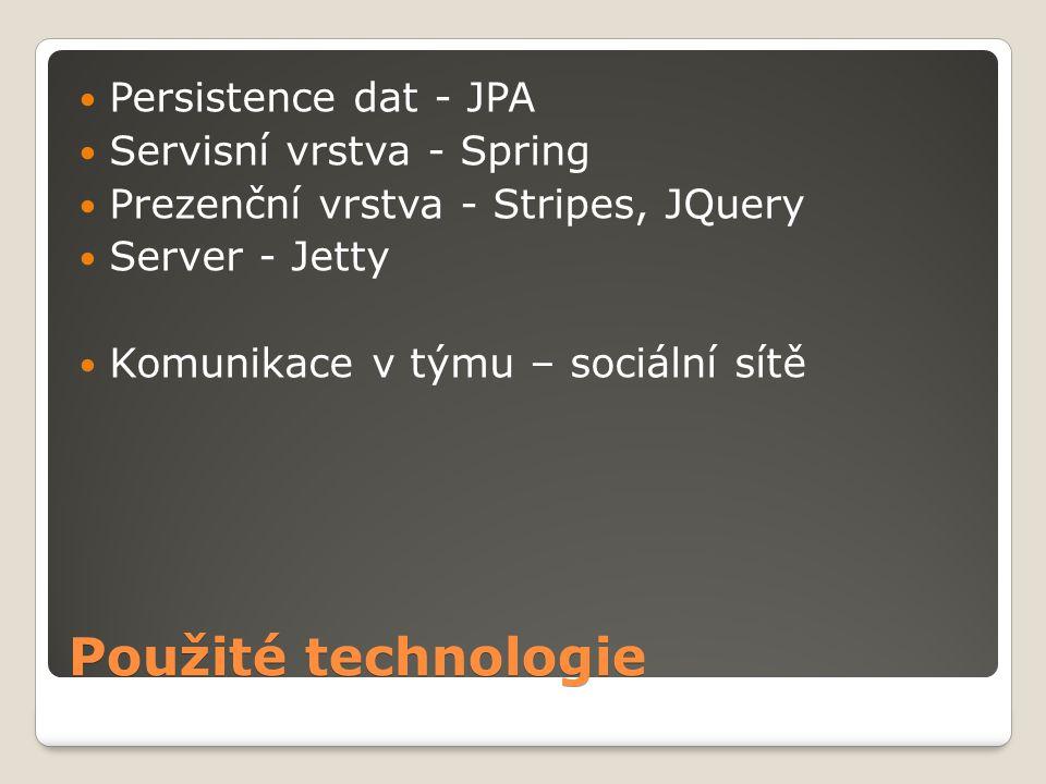 Použité technologie Persistence dat - JPA Servisní vrstva - Spring Prezenční vrstva - Stripes, JQuery Server - Jetty Komunikace v týmu – sociální sítě