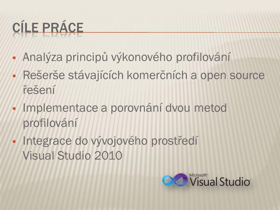  Analýza principů výkonového profilování  Rešerše stávajících komerčních a open source řešení  Implementace a porovnání dvou metod profilování  Integrace do vývojového prostředí Visual Studio 2010
