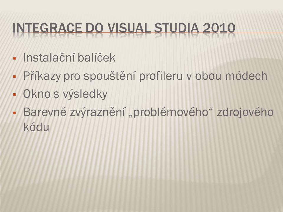 """ Instalační balíček  Příkazy pro spouštění profileru v obou módech  Okno s výsledky  Barevné zvýraznění """"problémového zdrojového kódu"""