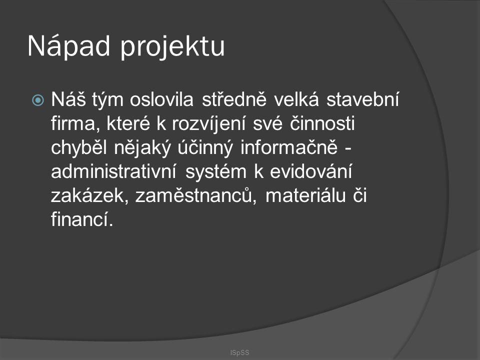 Cíle projektu  Naším cílem je vytvořit webovou aplikaci, která bude umožňovat evidovat a spravovat zakázky a vše co se jich týká, tedy například zaměstnance co se na ní podílejí, její rozpočet, postup prací nebo množství spotřebovaného materiálu.