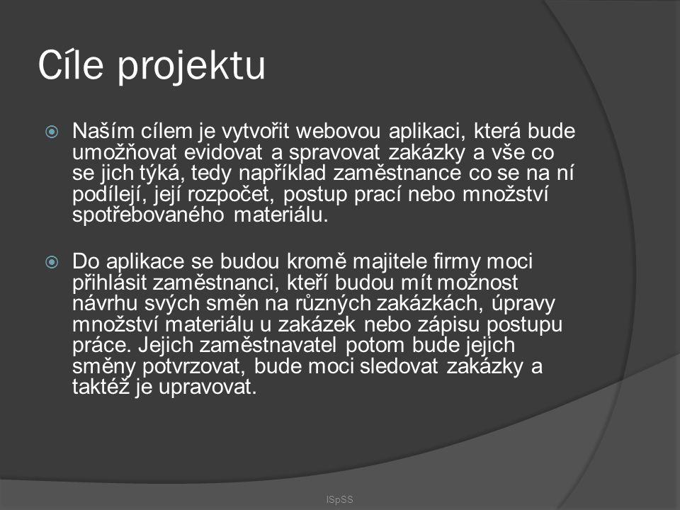 Cíle projektu  Naším cílem je vytvořit webovou aplikaci, která bude umožňovat evidovat a spravovat zakázky a vše co se jich týká, tedy například zamě