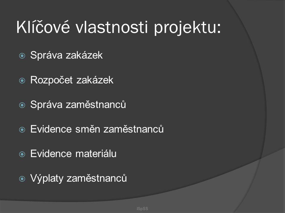 Klíčové vlastnosti projektu:  Správa zakázek  Rozpočet zakázek  Správa zaměstnanců  Evidence směn zaměstnanců  Evidence materiálu  Výplaty zaměs