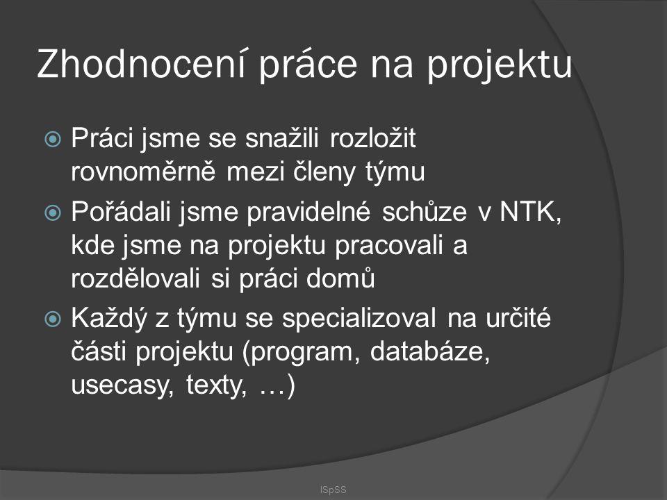 Zhodnocení práce na projektu  Práci jsme se snažili rozložit rovnoměrně mezi členy týmu  Pořádali jsme pravidelné schůze v NTK, kde jsme na projektu