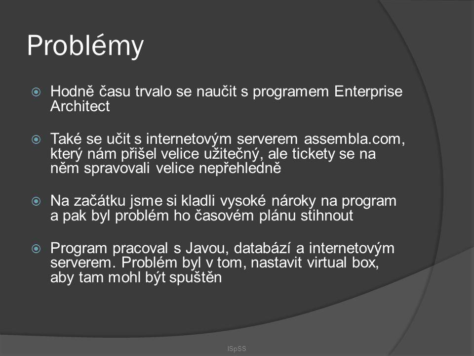 Problémy  Hodně času trvalo se naučit s programem Enterprise Architect  Také se učit s internetovým serverem assembla.com, který nám přišel velice u