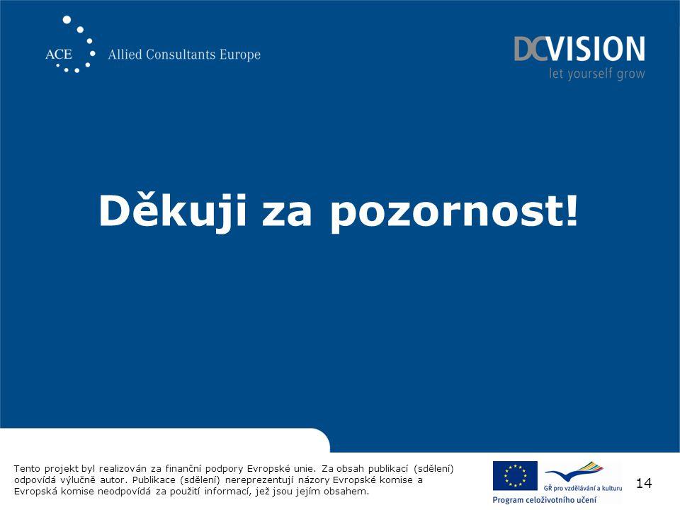 Děkuji za pozornost. Tento projekt byl realizován za finanční podpory Evropské unie.