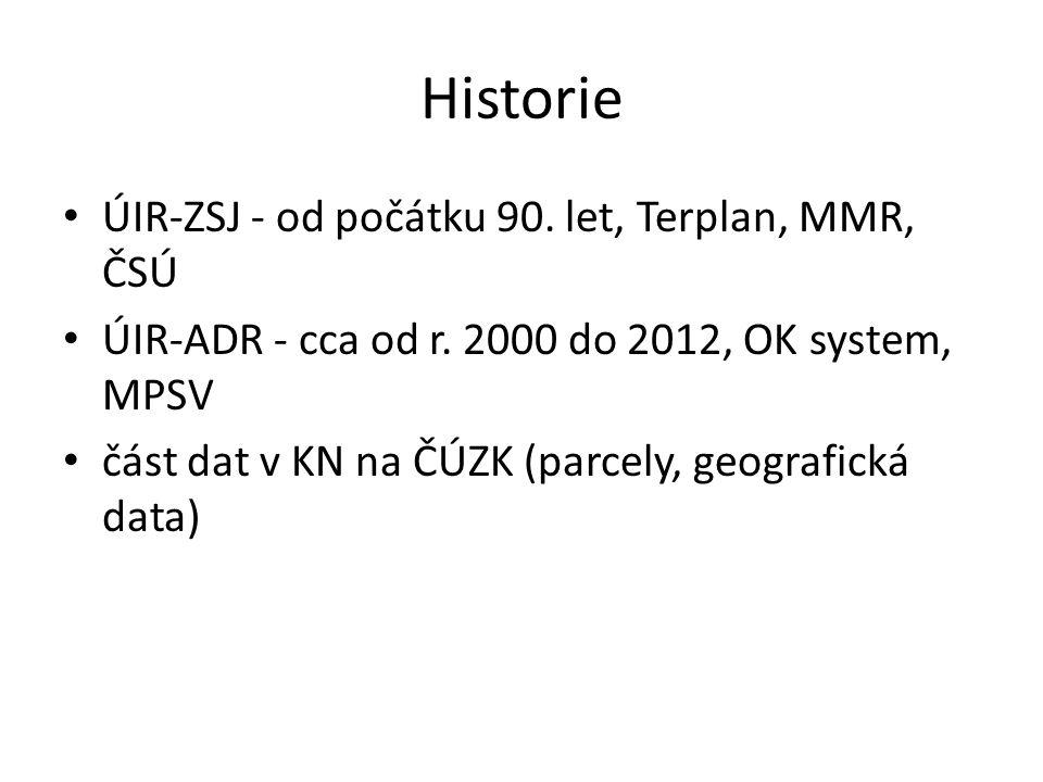 Historie ÚIR-ZSJ - od počátku 90. let, Terplan, MMR, ČSÚ ÚIR-ADR - cca od r. 2000 do 2012, OK system, MPSV část dat v KN na ČÚZK (parcely, geografická