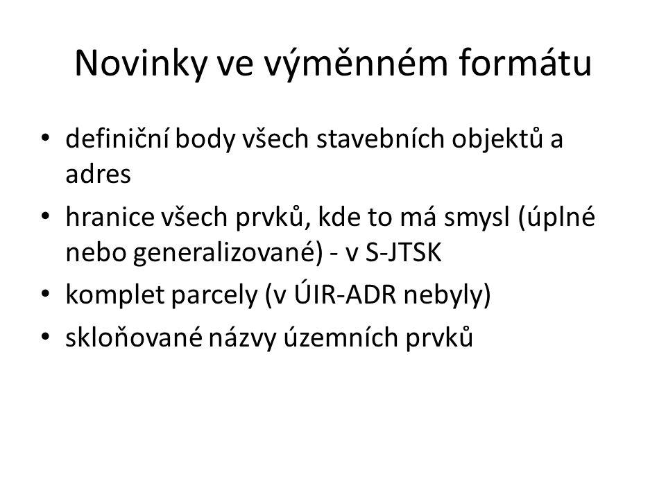 Novinky ve výměnném formátu definiční body všech stavebních objektů a adres hranice všech prvků, kde to má smysl (úplné nebo generalizované) - v S-JTSK komplet parcely (v ÚIR-ADR nebyly) skloňované názvy územních prvků