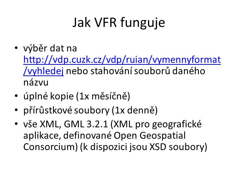 Jak VFR funguje výběr dat na http://vdp.cuzk.cz/vdp/ruian/vymennyformat /vyhledej nebo stahování souborů daného názvu http://vdp.cuzk.cz/vdp/ruian/vymennyformat /vyhledej úplné kopie (1x měsíčně) přírůstkové soubory (1x denně) vše XML, GML 3.2.1 (XML pro geografické aplikace, definované Open Geospatial Consorcium) (k dispozici jsou XSD soubory)