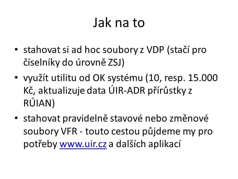 Jak na to stahovat si ad hoc soubory z VDP (stačí pro číselníky do úrovně ZSJ) využít utilitu od OK systému (10, resp. 15.000 Kč, aktualizuje data ÚIR
