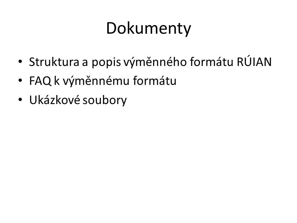 Dokumenty Struktura a popis výměnného formátu RÚIAN FAQ k výměnnému formátu Ukázkové soubory