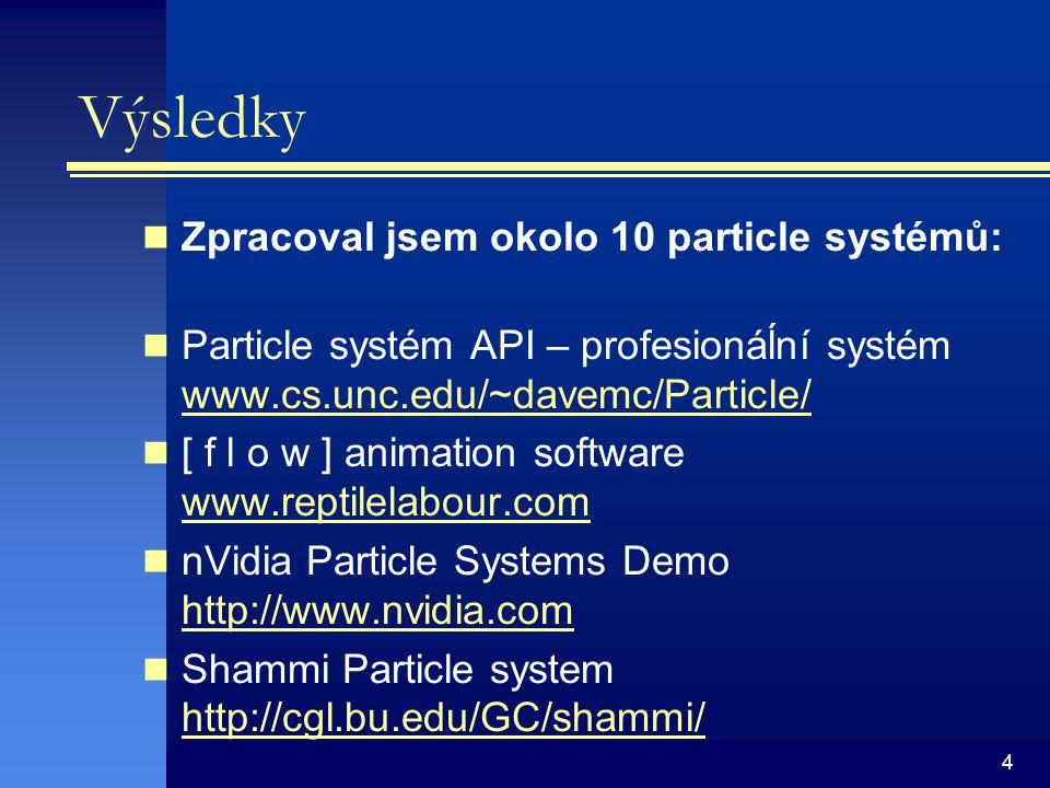 4 Výsledky Zpracoval jsem okolo 10 particle systémů: Particle systém API – profesionáĺní systém www.cs.unc.edu/~davemc/Particle/ www.cs.unc.edu/~davemc/Particle/ [ f l o w ] animation software www.reptilelabour.com www.reptilelabour.com nVidia Particle Systems Demo http://www.nvidia.com http://www.nvidia.com Shammi Particle system http://cgl.bu.edu/GC/shammi/ http://cgl.bu.edu/GC/shammi/