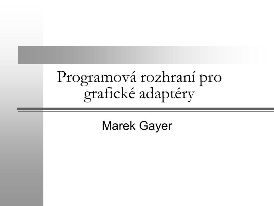 Programová rozhraní pro grafické adaptéry Marek Gayer