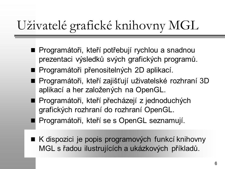 6 Uživatelé grafické knihovny MGL Programátoři, kteří potřebují rychlou a snadnou prezentaci výsledků svých grafických programů. Programátoři přenosit