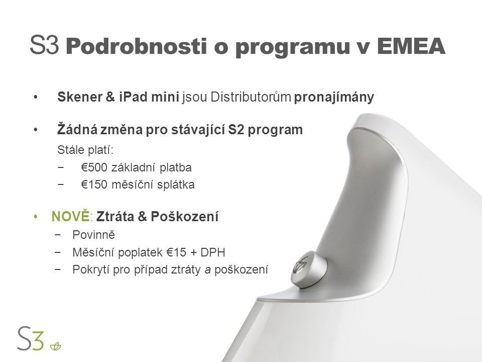 S3 Podrobnosti o programu v EMEA Skener & iPad mini jsou Distributorům pronajímány Žádná změna pro stávající S2 program Stále platí: −€500 základní pl