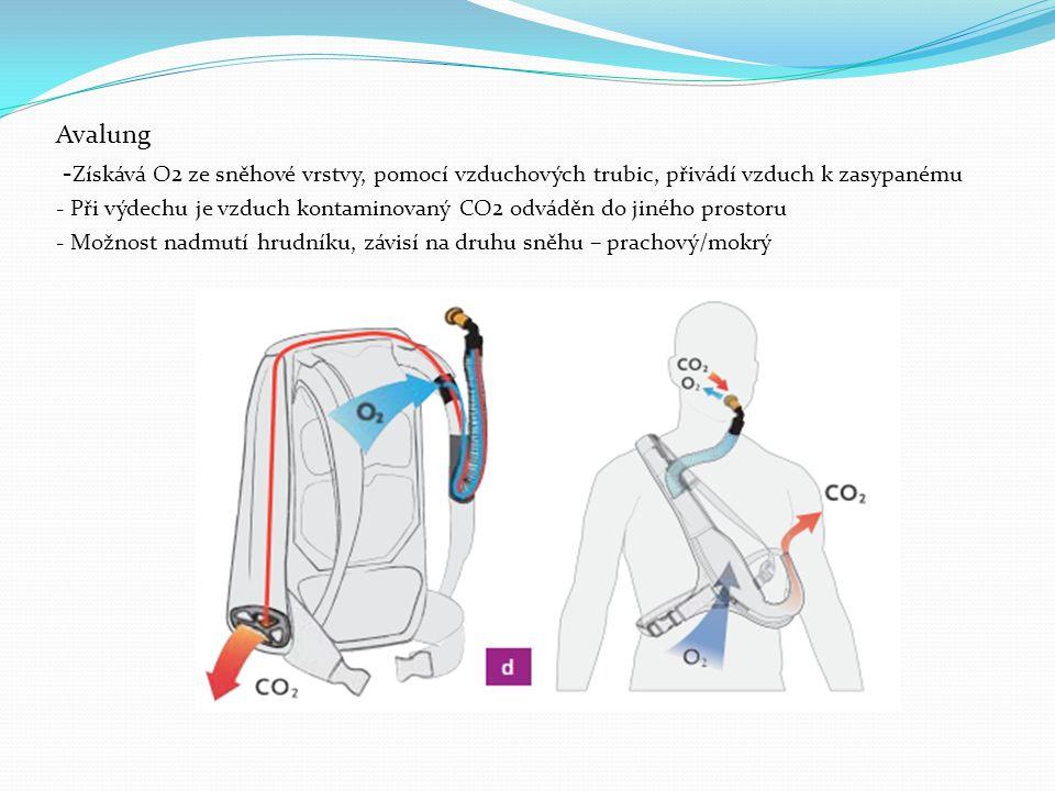 Avalung - Získává O2 ze sněhové vrstvy, pomocí vzduchových trubic, přivádí vzduch k zasypanému - Při výdechu je vzduch kontaminovaný CO2 odváděn do jiného prostoru - Možnost nadmutí hrudníku, závisí na druhu sněhu – prachový/mokrý