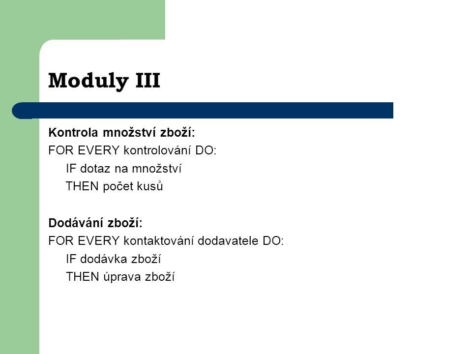 Moduly III Kontrola množství zboží: FOR EVERY kontrolování DO: IF dotaz na množství THEN počet kusů Dodávání zboží: FOR EVERY kontaktování dodavatele DO: IF dodávka zboží THEN úprava zboží