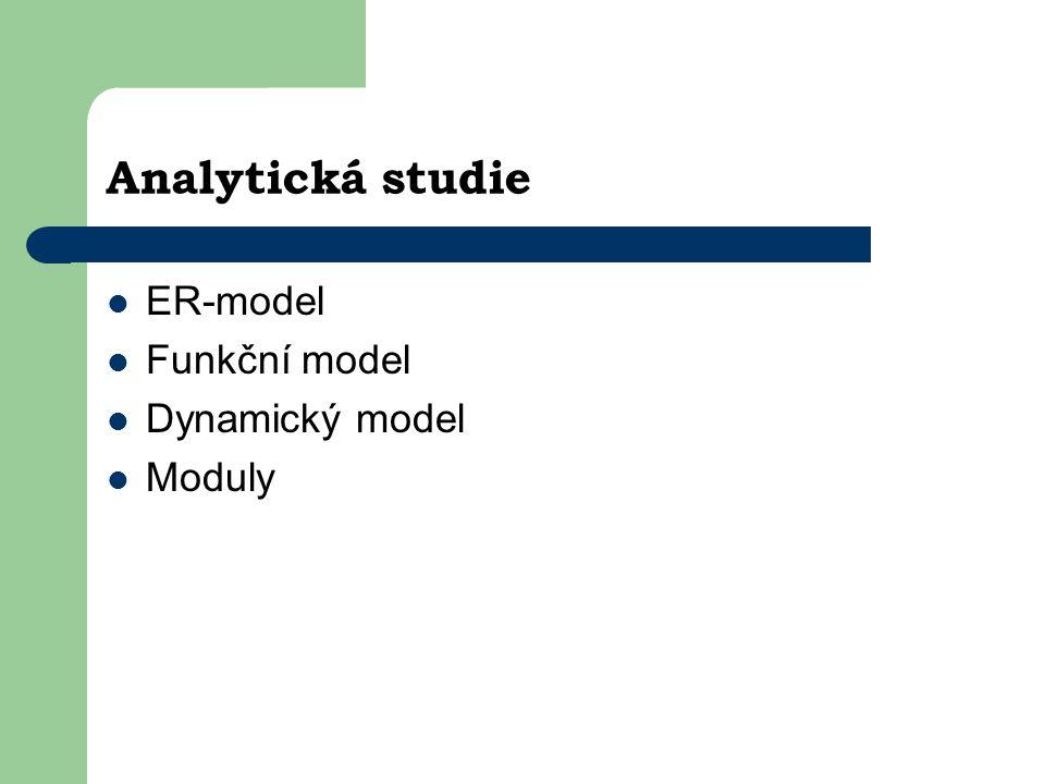 Analytická studie ER-model Funkční model Dynamický model Moduly