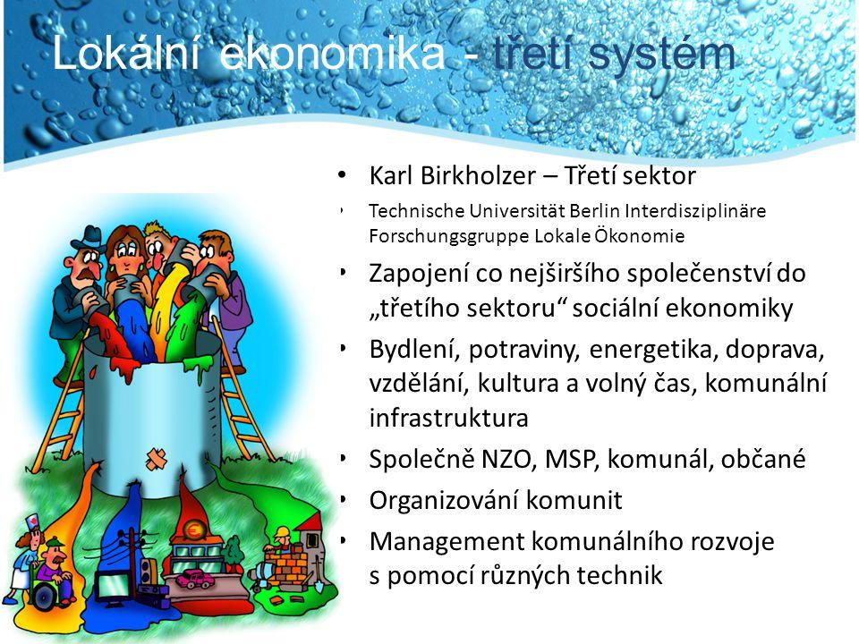 """Lokální ekonomika - třetí systém Karl Birkholzer – Třetí sektor Technische Universität Berlin Interdisziplinäre Forschungsgruppe Lokale Ökonomie Zapojení co nejširšího společenství do """"třetího sektoru sociální ekonomiky Bydlení, potraviny, energetika, doprava, vzdělání, kultura a volný čas, komunální infrastruktura Společně NZO, MSP, komunál, občané Organizování komunit Management komunálního rozvoje s pomocí různých technik"""