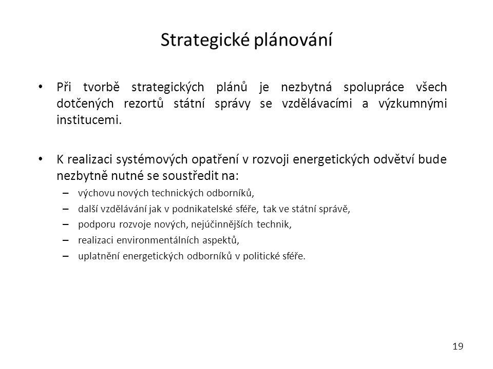 Strategické plánování Při tvorbě strategických plánů je nezbytná spolupráce všech dotčených rezortů státní správy se vzdělávacími a výzkumnými institucemi.