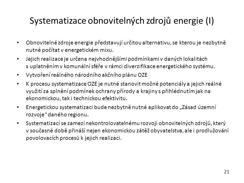 Systematizace obnovitelných zdrojů energie (I) Obnovitelné zdroje energie představují určitou alternativu, se kterou je nezbytně nutné počítat v energetickém mixu.